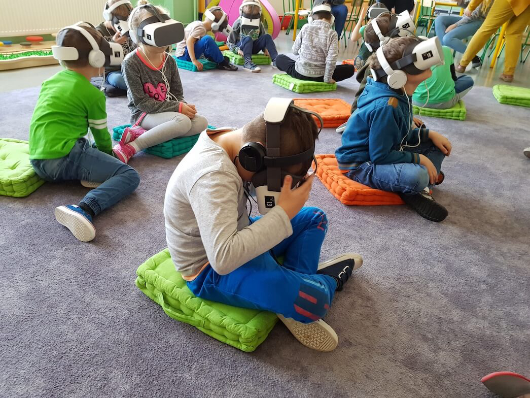 Virtual reality education at kindergarten with kids